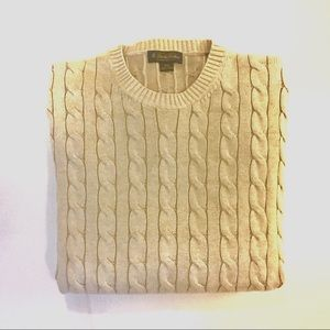 Brooks Brothers Mens Cable Knit Sweater Crewneck
